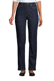 Women's Water Conserve Eco Friendly High Rise Straight Leg Classic Fit Stretch Blue Jeans