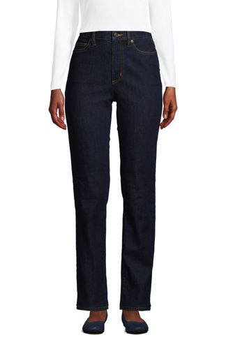 Women's Petite Water Conserve Eco Friendly Jeans, High Waist, Straight Leg