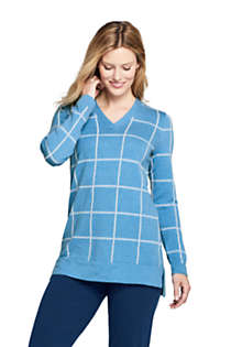 Women's Cotton V-neck Tunic Sweater - Print, Front