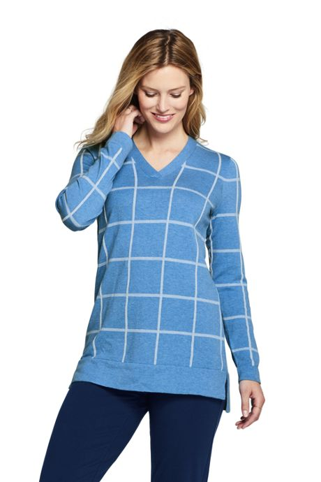 Women's Petite Cotton V-neck Tunic Sweater - Print