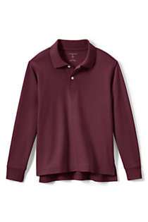 School Uniform Kids Long Sleeve Interlock Polo Shirt, Front