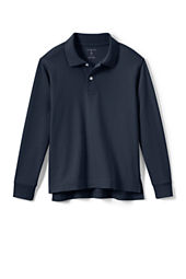 School Uniform Long Sleeve Solid Performance Interlock Polo Shirt