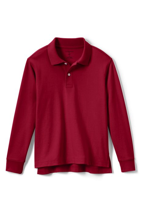 School Uniform Kids Long Sleeve Interlock Polo Shirt