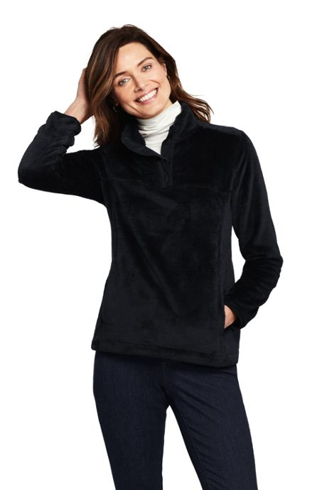 Women's Petite Softest Fleece Snap Neck Pullover Top