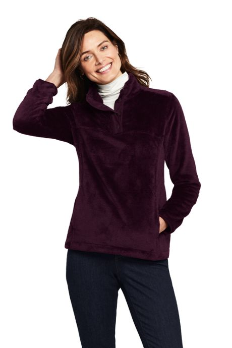 Women's Tall Softest Fleece Snap Neck Pullover Top