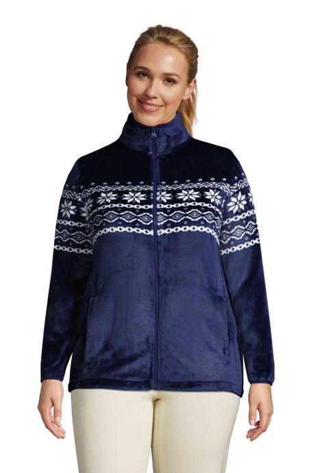 Women's Plus Size Print Softest Fleece Jacket