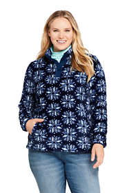 Women's Plus Size Print Softest Fleece Snap Neck Pullover Top