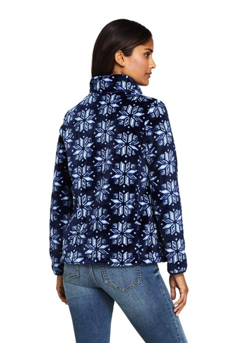 Women's Tall Print Softest Fleece Snap Neck Pullover Top
