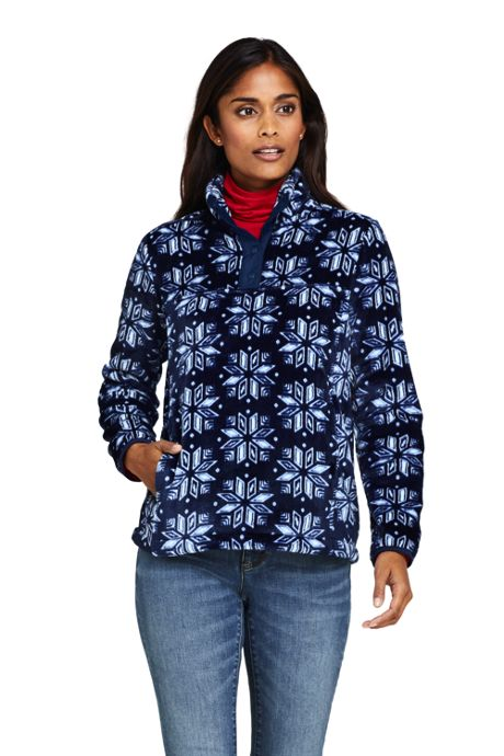 Women's Petite Print Softest Fleece Snap Neck Pullover Top
