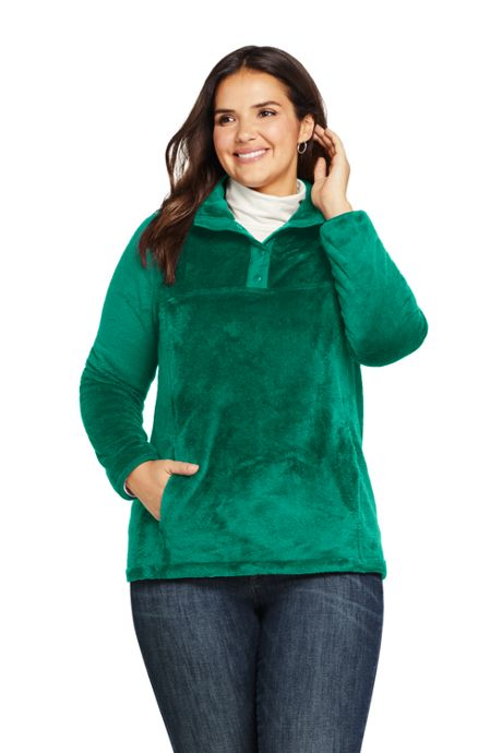 Women's Plus Size Softest Fleece Snap Neck Pullover Top