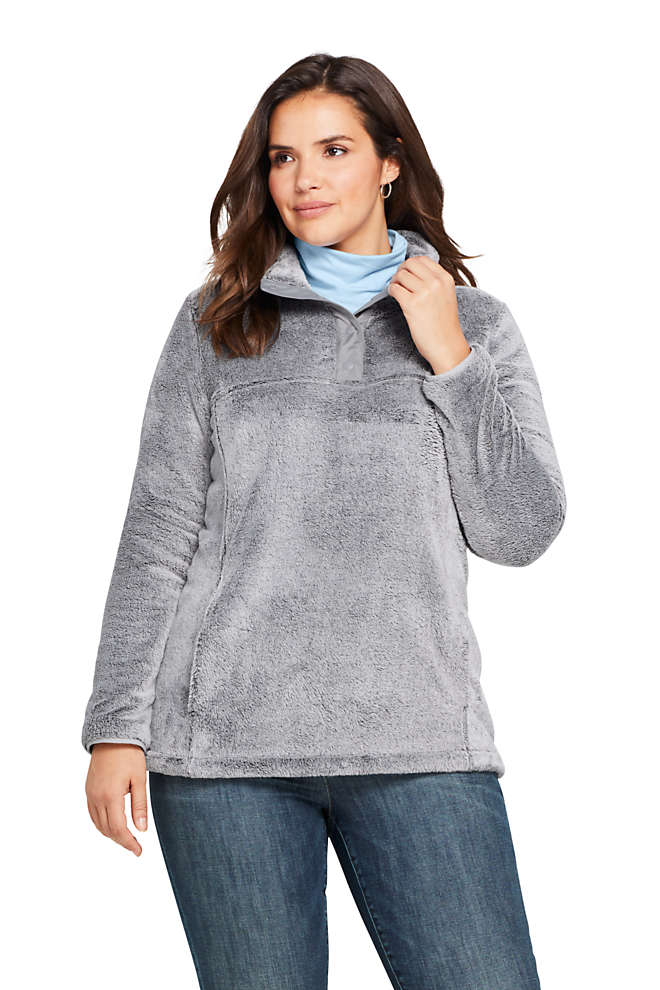 Women's Plus Size Softest Fleece Snap Neck Pullover Top, Front