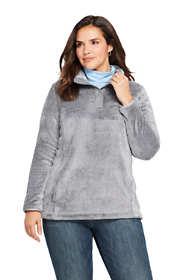 Women's Plus Size Softest Fleece Snap Neck Pullover Top