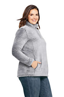 Women's Plus Size Softest Fleece Snap Neck Pullover Top, alternative image