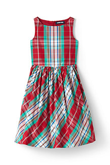 Girls' Plaid Taffeta Party Dress