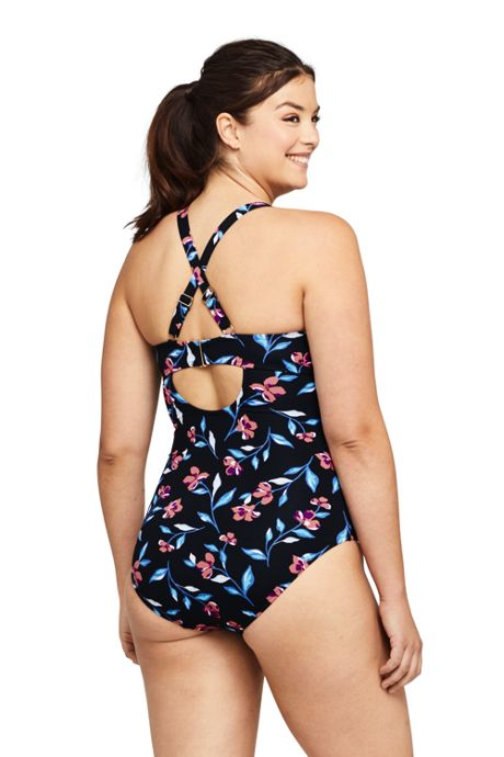 Women's Plus Size V-Neck Lace Up Back One Piece Swimsuit Adjustable Straps Print