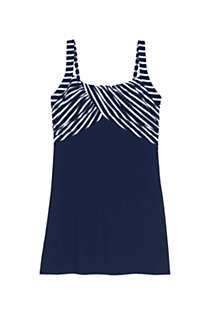 Women's Plus Size DD-Cup Square Neck Underwire Dresskini Tankini Top Swimsuit Adjustable Straps, Front