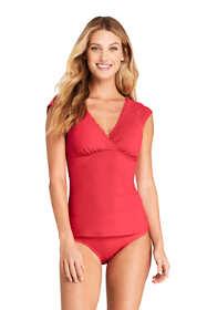 Women's Scallop V-neck Cap Sleeve UPF 50 Sun Protection Modest Tankini Top Swimsuit