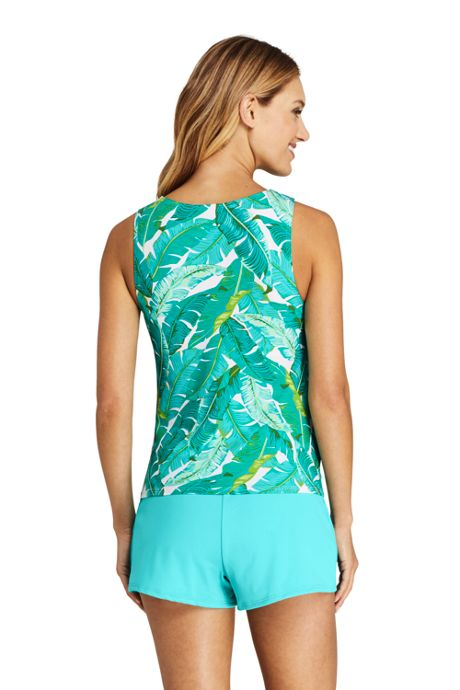 Women's Chlorine Resistant High Neck UPF 50 Sun Protection Modest Tankini Top Swimsuit