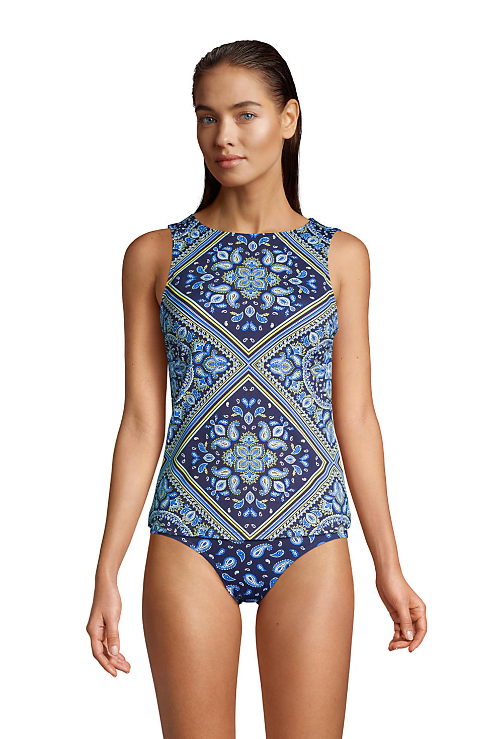 Lands' End Women's Tankini Top in Deep Sea Navy Square Paisley