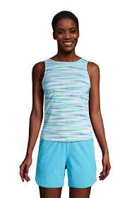 Women's Petite Chlorine Resistant High Neck UPF 50 Sun Protection Modest Tankini Top Swimsuit