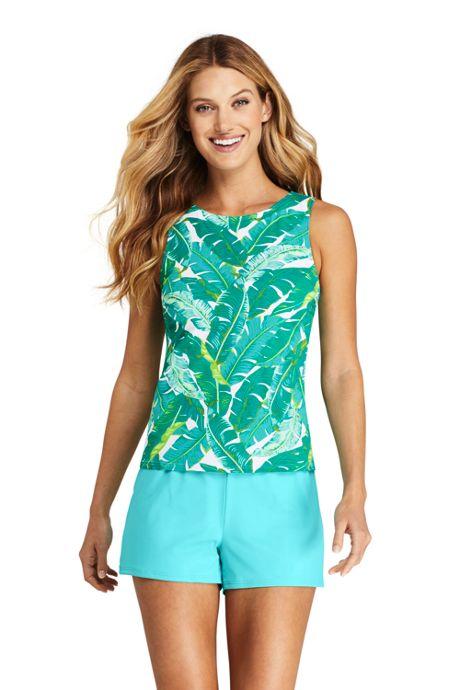Women's Chlorine Resistant High Neck UPF 50 Sun Protection Modest Tankini Top Swimsuit