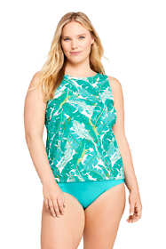 Women's Plus Size Chlorine Resistant High Neck UPF 50 Sun Protection Modest Tankini Top Swimsuit