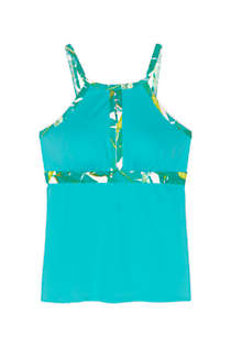 Women's Chlorine Resistant Keyhole High Neck Modest Tankini Top Swimsuit Adjustable Straps, Front