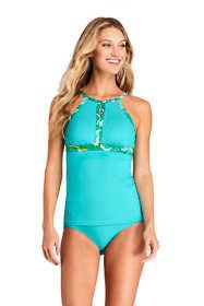 Women's Chlorine Resistant Keyhole High Neck Modest Tankini Top Swimsuit Adjustable Straps