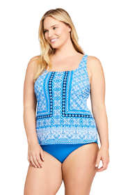 Women's Plus Size Long Square Neck Underwire Tankini Top Swimsuit Adjustable Straps Print