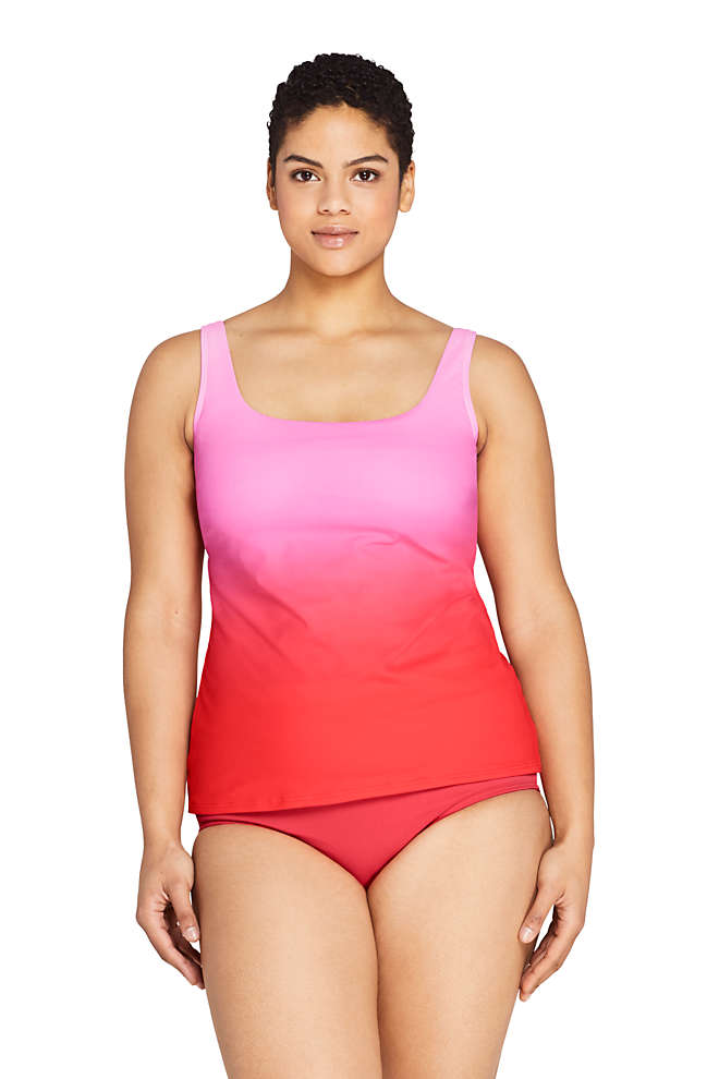 Women's Plus Size DDD-Cup Square Neck Underwire Tankini Top Swimsuit Adjustable Straps Print, Front