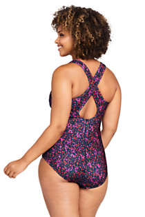 Women's Plus Size Chlorine Resistant Scoop Neck One Piece Athletic Swimsuit Print, Back