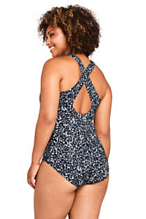 Women's Plus Size Long Chlorine Resistant Scoop Neck One Piece Athletic Swimsuit Print, Back