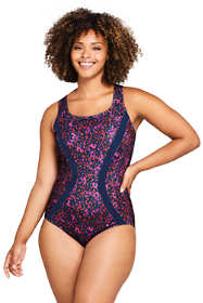 Women's Plus Size Chlorine Resistant Scoop Neck One Piece Athletic Swimsuit Print