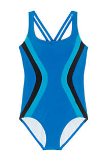 Women's Chlorine Resistant Scoop Neck One Piece Athletic Swimsuit, Front