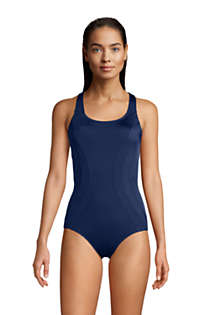 Women's D-Cup Chlorine Resistant Scoop Neck One Piece Athletic Swimsuit, Front