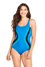 Women's Long Chlorine Resistant Scoop Neck One Piece Athletic Swimsuit