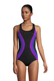 Women's Petite Chlorine Resistant Scoop Neck One Piece Athletic Swimsuit