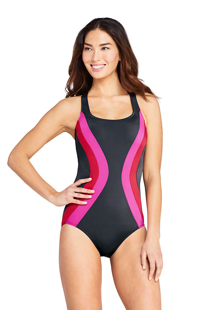 Women's Petite Chlorine Resistant Scoop Neck One Piece Athletic Swimsuit, Front