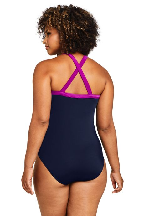 Women's Plus Size Chlorine Resistant Square Neck One Piece Athletic Swimsuit