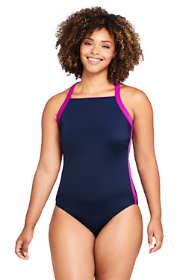 Women's Plus Size Chlorine Resistant Square Neck One Piece Athletic Swimsuit