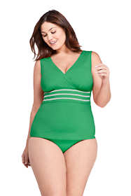 Women's Plus Size Embroidered  V-neck Tankini Top Swimsuit
