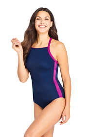 Women's Long Chlorine Resistant Square Neck One Piece Athletic Swimsuit
