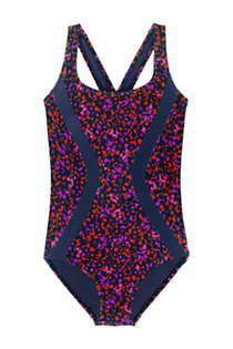Women's Plus Size Chlorine Resistant Scoop Neck One Piece Athletic Swimsuit Print, Front