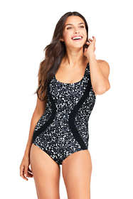 Women's Long Chlorine Resistant Scoop Neck One Piece Athletic Swimsuit Print