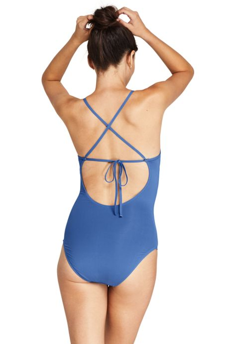 Women's V-Neck Lace Up Back One Piece Swimsuit Adjustable Straps Embroidered