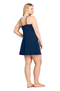 Women's Plus Size DD-Cup Square Neck Underwire Dresskini Tankini Top Swimsuit Adjustable Straps, Back