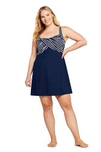 Women's Plus Size Wrap Square Neck Underwire Dresskini Tankini Top Swimsuit Adjustable Straps Print