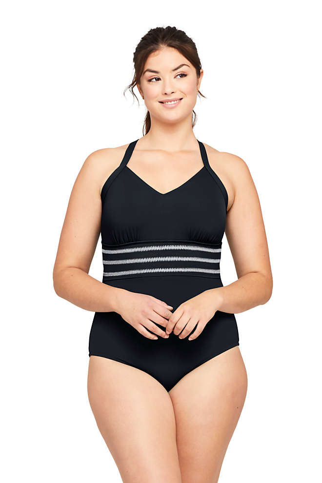 Women's Plus Size V-Neck Lace Up Back One Piece Swimsuit Adjustable Straps Embroidered, Front
