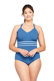 Women's Plus Size V-Neck Lace Up Back One Piece Swimsuit Adjustable Straps Embroidered