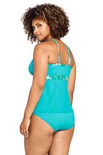 Women's Plus Size Chlorine Resistant Keyhole High Neck Modest Tankini Top Swimsuit, Back